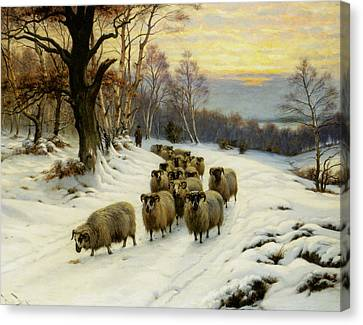 A Shepherd And His Flock Canvas Print by Wright Barker