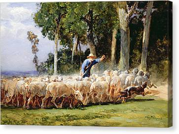 A Shepherd With A Flock Of Sheep Canvas Print by Charles Emile Jacques