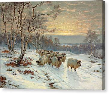 A Shepherd With His Flock In A Winter Landscape Canvas Print by Wright Barker