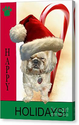 Canvas Print featuring the digital art A Shih Tzu's Happy Holidays Greeting by Polly Peacock