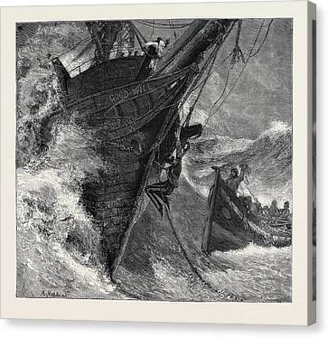 A Ship At Storm Canvas Print by English School