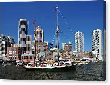Canvas Print featuring the photograph A Ship In Boston Harbor by Mitchell Grosky