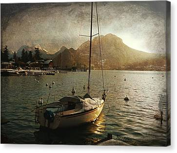 A Ship In Port Canvas Print by Barbara Orenya