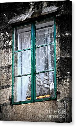 A Ship In The Green Window Canvas Print