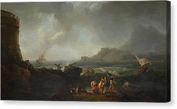 A Shipwreck In Stormy Seas Canvas Print by Adrien Manglard