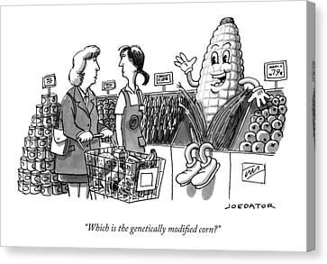 A Shopper Asks A Grocery Store Employee Canvas Print by Joe Dator