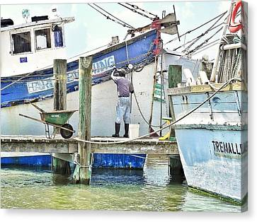 A Shrimper's Work Is Never Done Canvas Print