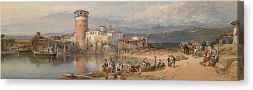 A Sicilian Village Canvas Print by William Leighton Leitch