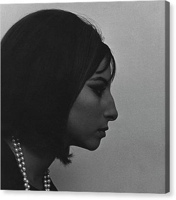 Head And Shoulders Canvas Print - A Side View Of Barbra Streisand by Cecil Beaton