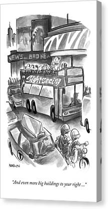 A Sightseeing Guide In New York City Announces Canvas Print by Corey Pandolph