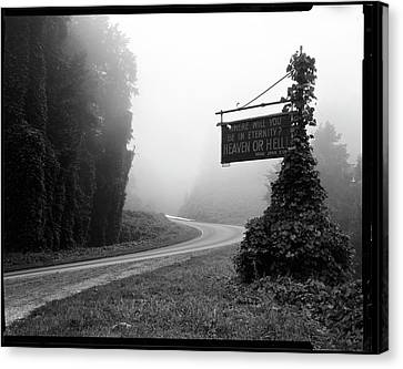A Sign Covered In Kudzu On Highway 74 Canvas Print