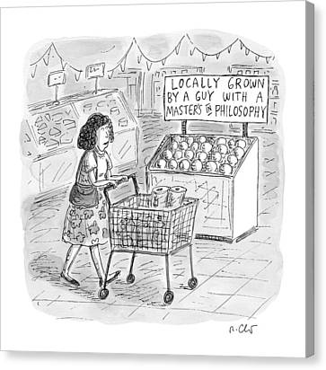 A Sign For Produce In A Grocery Store Reads Canvas Print by Roz Chast