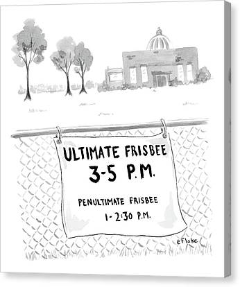 A Sign On A Fence Reads: Ultimate Frisbee 3-5 Pm Canvas Print