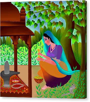 Canvas Print featuring the digital art A Silent Prayer In Solitude by Latha Gokuldas Panicker