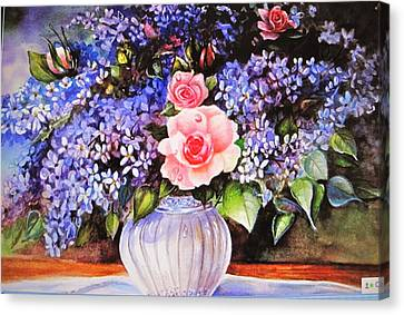 Canvas Print featuring the painting A Simple Flower by Patricia Schneider Mitchell