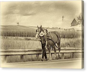 A Simple Life - Antique Sepia Canvas Print by Steve Harrington