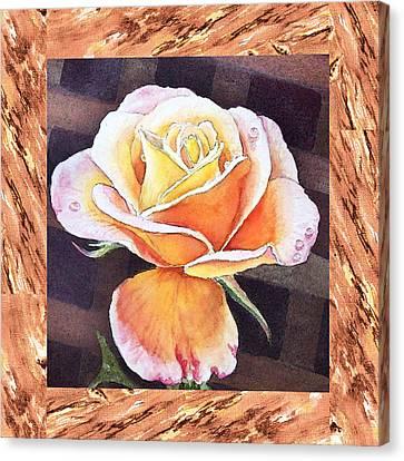 A Single Rose Dew Drops On Ruffles  Canvas Print