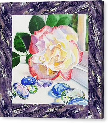 A Single Rose Mable Blue Glass Canvas Print