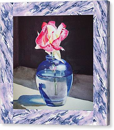 A Single Rose Mable Blue Canvas Print