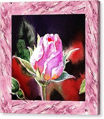 A Single Rose Pink Impressionism  Canvas Print