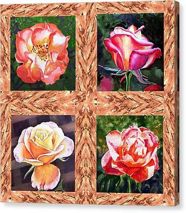 A Single Rose Quartet  Canvas Print