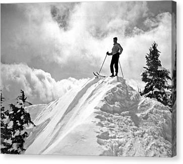A Skier On Top Of Mount Hood Canvas Print by Underwood Archives