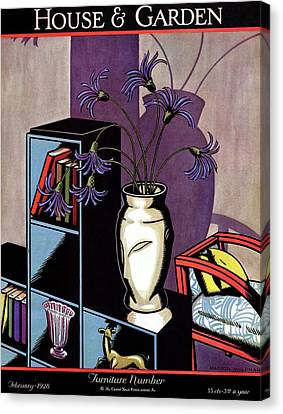 A Skyscraper Style Bookcase With A Vase Canvas Print by Marion Wildman