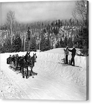 A Sleigh Ride Greets Skiers Canvas Print