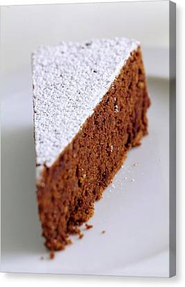A Slice Of Chocolate Raspberry Ganache Cake Canvas Print by Romulo Yanes