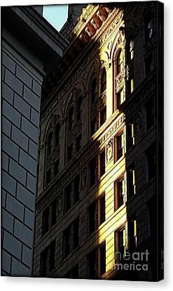 A Sliver Of Light In Manhattan Canvas Print by James Aiken