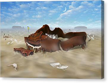 Buzzard Canvas Print - A Slow Death In Piano Valley by Mike McGlothlen