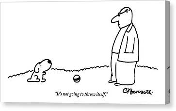 A Small Dog Sits A Short Distance Away Canvas Print by Charles Barsotti