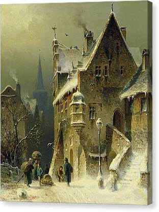 Street Lights Canvas Print - A Small Town In The Rhine by August Schlieker