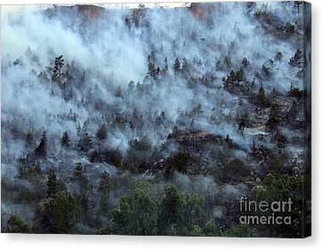 A Smoky Slope On White Draw Fire Canvas Print by Bill Gabbert