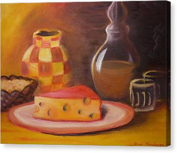 A Snack With Cheese Canvas Print by Anna  Henderson