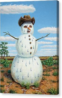 A Snowman In Texas Canvas Print by James W Johnson