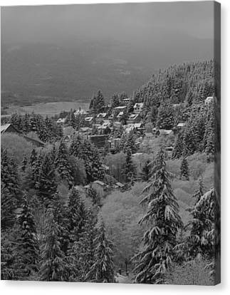 Canvas Print featuring the pyrography A Snowy Alaskan Town. by Timothy Latta