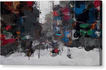 A Snowy Day In New York City Canvas Print by Steve K