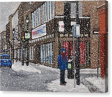 Montreal Winter Scenes Canvas Print - A Snowy Day On Wellington by Reb Frost