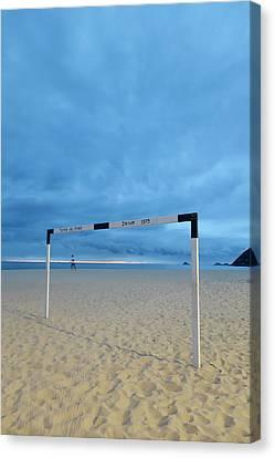 A Soccer Goal Post At Dusk At Ipanema Canvas Print by Kevin Berne