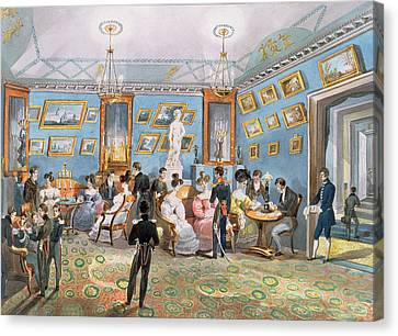 A Society Drawing Room, C.1830 Wc On Paper Canvas Print by Karl Ivanovich Kolmann