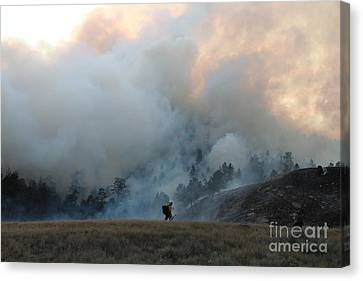 A Solitary Firefighter On The White Draw Fire Canvas Print by Bill Gabbert