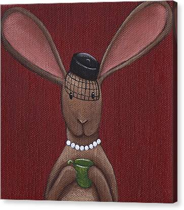 A Sophisticated Bunny Canvas Print by Christy Beckwith