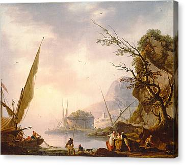 155 Canvas Print - A Southern Coastal Scene, 1753 Oil On Canvas by Charles Francois Lacroix de Marseille