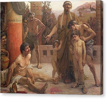 A Spartan Points Out A Drunken Slave To His Sons Canvas Print by Fernand Sabbate