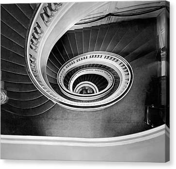 Spiral Staircase Canvas Print - A Spectacular View Of The Grand Staircase At The New Home Of The by Underwood Archives