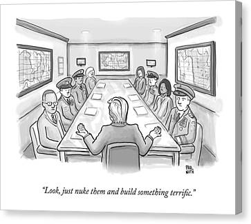 Construction Canvas Print - A Spectacularly Coifed Politician Speaks by Paul Noth