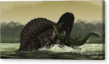 Food In Mouth Canvas Print - A Spinosaurus Catches A Young by Vitor Silva