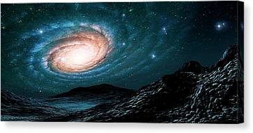 A Spiral Galaxy Seen From A Planet Canvas Print