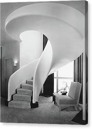 Spiral Staircase Canvas Print - A Spiral Staircase by Hedrich-Blessing
